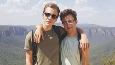 Hugo Palmer (left) and friend Erwan Ferrieux, missing from Shelly Beach on NSW mid-north coast since Monday.