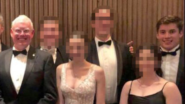 Young Liberal ex-staffer Jacob Sich (far right) with NSW Minister Gareth Ward (far left), who Sich used to work for at a Young Liberal ball held last weekend.
