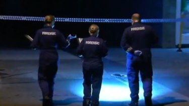 Police at the scene of a shooting in Springvale.