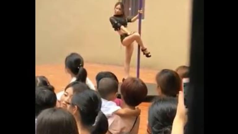 Parents were shocked to see the pole dancing routine performed in front of kindergarten students.