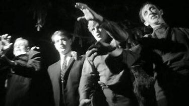 A scene from the 1968 movie Night of the Living Dead.