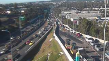 Traffic banked up in the northbound lanes of the Centenary Motorway.