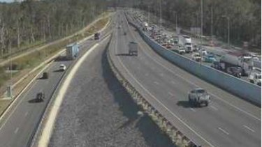 Traffic builds on the Gateway Motorway near Boondall after the crash.