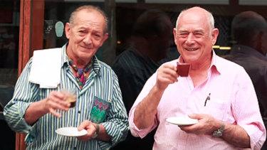 Great mates: Sisto Malaspina and Nino Pangrazio at Pellegrini's in 2014.