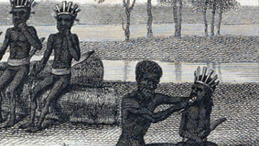 Colebee applying grilled fish to Nanbarry's gum after his his tooth was struck out in 1798.