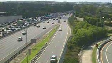 A north-facing traffic camera on the M1 captures the congestion in Daisy Hill on Monday.