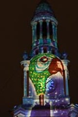 Event organisers went to the trouble of projecting Mary Poppins' famous parrot head umbrella onto Sydney Town Hall.