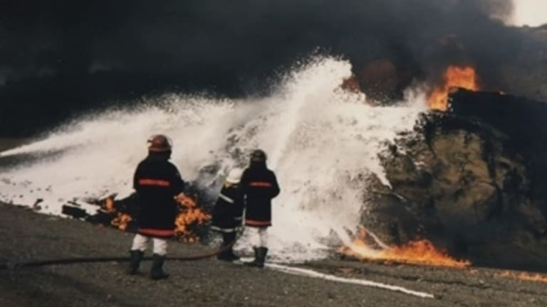 Aviation rescue and firefighting training exercises involving toxic foam in 1998.