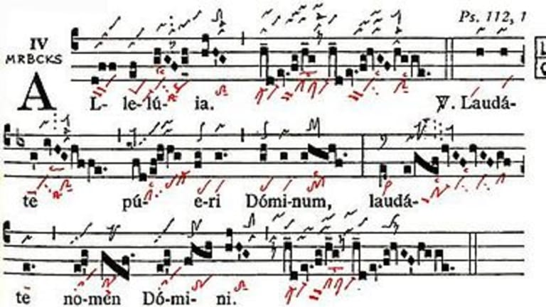 Gregorian neumes from the 14th century with added interpretive marks from the 10th century.
