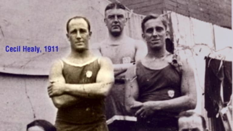 Halcyon days: Cecil Healy with Manly Surf Club in 1911.