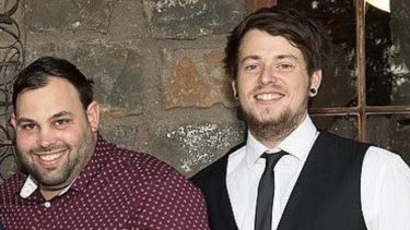 Brad Dobney (left) andJason Gilham died after their car swerved off a freeway ramp into water in Altona North.