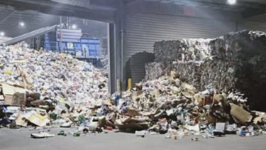 Inside SKM Recycling's Laverton North recycling plant just before the EPA allowed it to re-open for business this month.