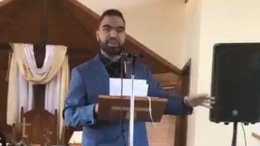 Josiah Folau delivers his sermon at Kenthurst Uniting Church.