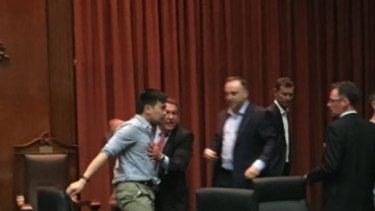 An image from a 2015 Maribyrnong City Council meeting which erupted into a brawl over Yarraville parking meters.