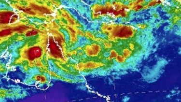 A satellite image of Ex-Tropical Cyclone Penny off the far north Queensland coast on Wednesday morning.
