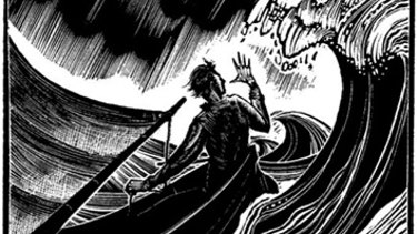 Tempest at sea: Original woodcut graphic by Lynd Ward.