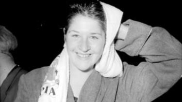 Dawn Fraser at the 1956 Melbourne Olympics. Fraser won four Olympic gold medals during her career.