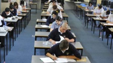 VCE students doing their English exam.