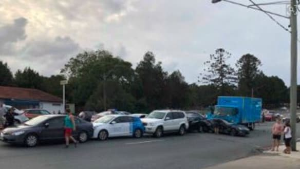 Eight injured in 10-vehicle peak-hour pile-up on Brisbane's northside