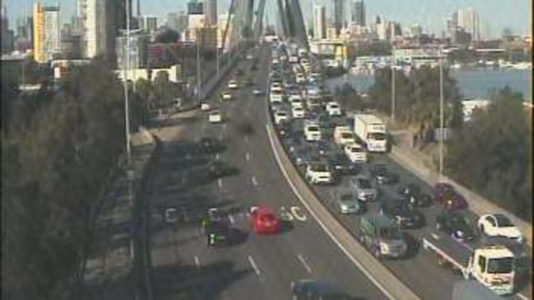 Traffic banked up on the Anzac Bridge after a multi-vehicle crash on Wednesday.