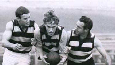 Geelong's coach Peter Pianto (right) putting player Ian Nankervis through a fitness test.