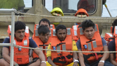 A group of asylum seekers arrive on Christmas Island.