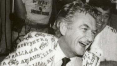Hawke celebrating the America's Cup win in 1983.