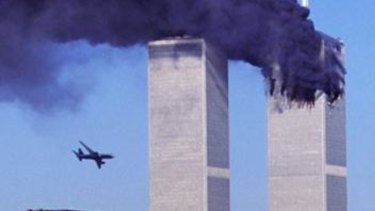 Hijacked United Airlines Flight 175 nears the south tower of the World Trade Centre.