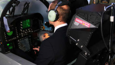 His Royal Highness, the Duke of Cambridge experiences a flight in the F/A18-F Super Hornet simulator at RAAF Base Amberley.