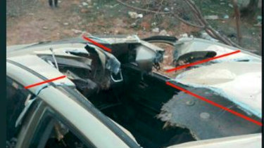 The car in which al-Qaeda leader Abu Khayr al-Masri was killed.