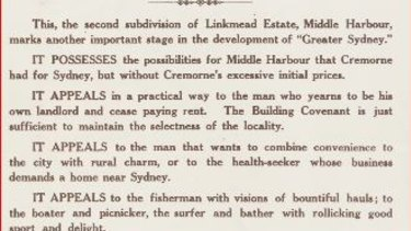 "Linkmead Point was a subdivision on Middle Harbour in 1913 promoted as appealing in a ""practical way to the man who yearns to be his own landlord and cease paying rent""."