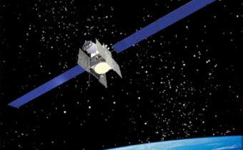 An artist's rendering of the Spaceway-1 satellite.
