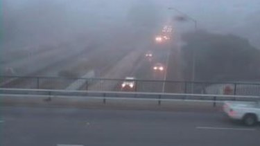 Main Roads cameras captured the freeway covered in fog.
