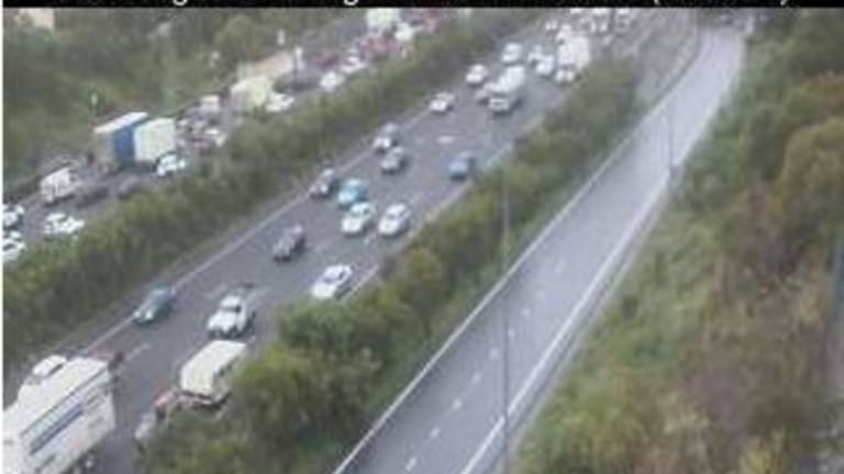 Footage from a traffic camera at Beenleigh after a crash on the Pacific Motorway.
