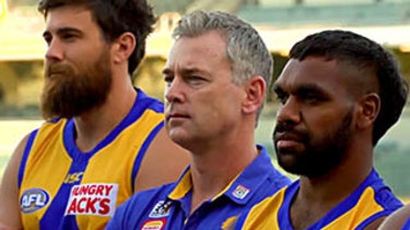 Liam Ryan (right) with coach Adam Simpson and Josh Kennedy in the video.