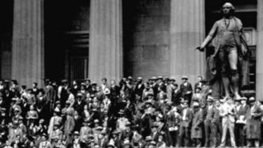 People gather outside the NYSE in 1929. Wall Street's historic 1929 crash led to the Great Depression.