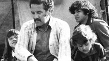 Family bonds: Charles Perkins with his children, Rachel and Adam, at the Aboriginal tent embassy in Canberra in 1974.
