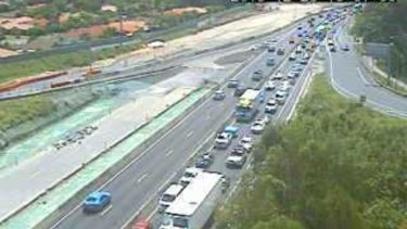 Motorists enduring delays on the M1 near Robina.