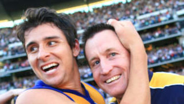 Andrew Embley with John Worsfold, then coach of the Eagles, in 2006.