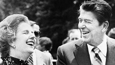 Margaret Thatcher and Ronald Reagan during their time in power.