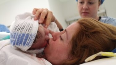 Amy Dawes and her baby Ellie just after birth.