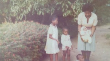 Sisonke, at left, with her sisters, mother and a baby in Lusaka, Zambia, circa 1979.