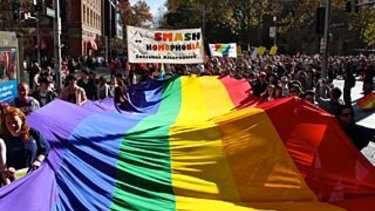 A rally in support of same-sex marriage.