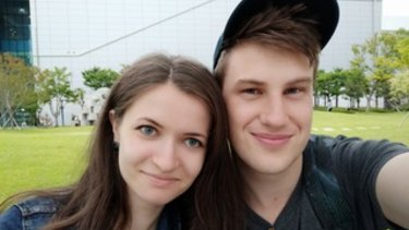 In love but out of luck with the government: Declan Clarke and fiancee Anastasiia Bazykina.