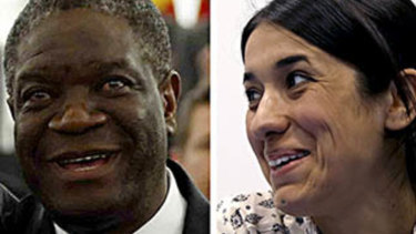 Nobel Peace Prize recipients Denis Mukwege and Nadia Murad.