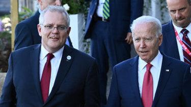 Prime Minister Scott Morrison and US President Joe Biden meet in Cornwall for the G7 leaders meeting.