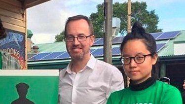 Greens MLC David Shoebridge with Xiaoran Shi, who was charged with vandalising a statue of Captain Cook in Hyde Park.