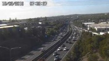Traffic was beginning to build up near the on-ramp at Darra on the Ipswich Motorway after two crashes.