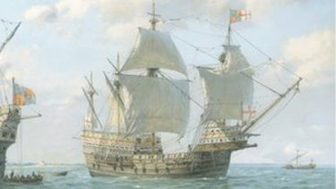 The Mary Rose, a Tudor-era ship from the period in which the wreck found at Tankerton Beach in Britain was built.
