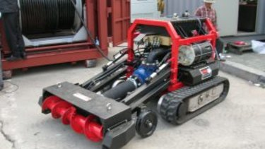 The MudCat, a remotely-controlled robotic dredging device.